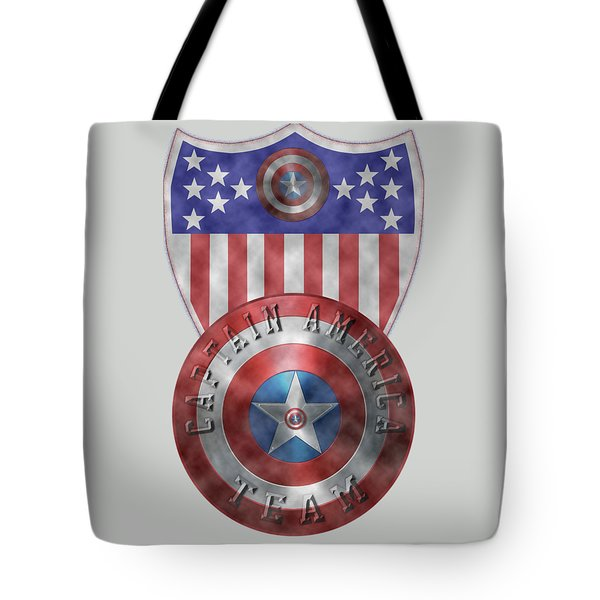 Tote Bag featuring the painting Captain America Shields On Gold  by Georgeta Blanaru