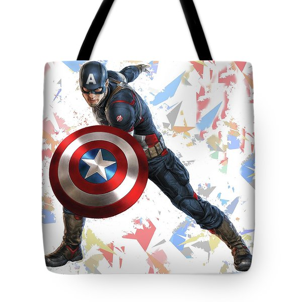 Tote Bag featuring the mixed media Captain America Splash Super Hero Series by Movie Poster Prints
