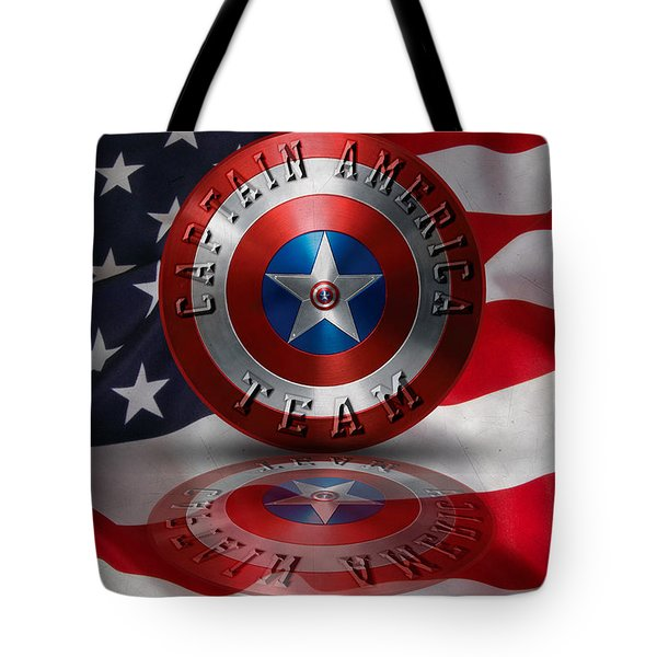 Tote Bag featuring the painting Captain America Team Typography On Captain America Shield  by Georgeta Blanaru