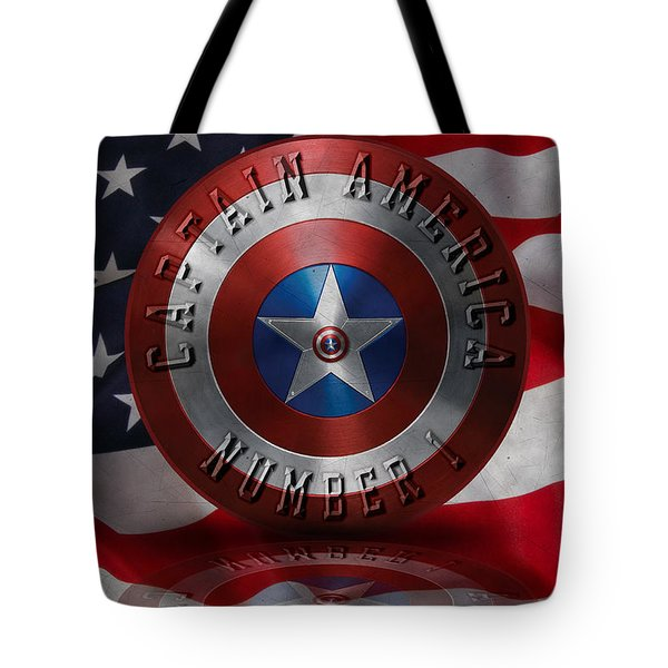 Tote Bag featuring the painting Captain America Typography On Captain America Shield  by Georgeta Blanaru
