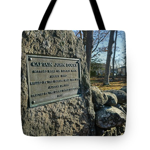 Tote Bag featuring the photograph Captain John Locke Monument  by Wayne Marshall Chase