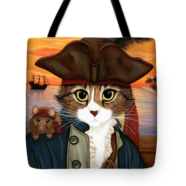 Captain Leo - Pirate Cat And Rat Tote Bag