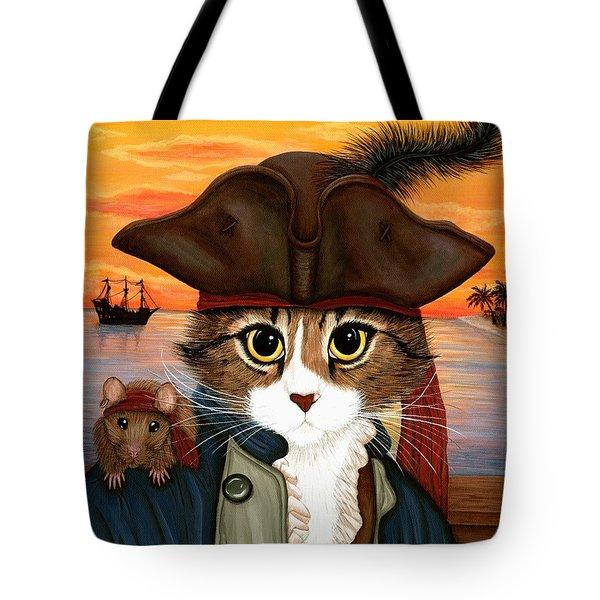 Captain Leo - Pirate Cat And Rat Tote Bag