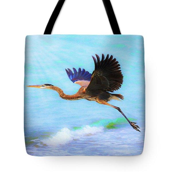 Captiva Crane In Flight Tote Bag