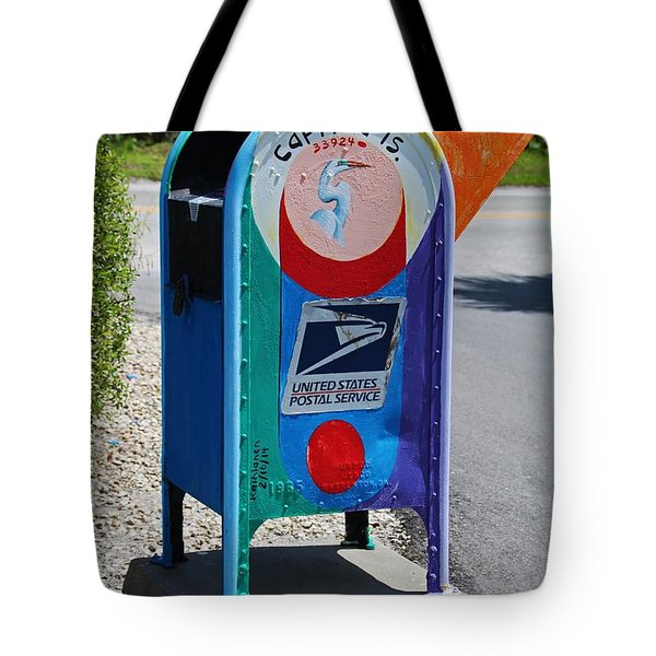 Tote Bag featuring the photograph Captiva Island Mailbox- Vertical by Michiale Schneider