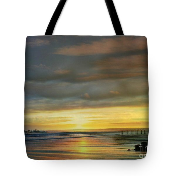 Captivating Sunset Over The Harbor Tote Bag by Judy Palkimas
