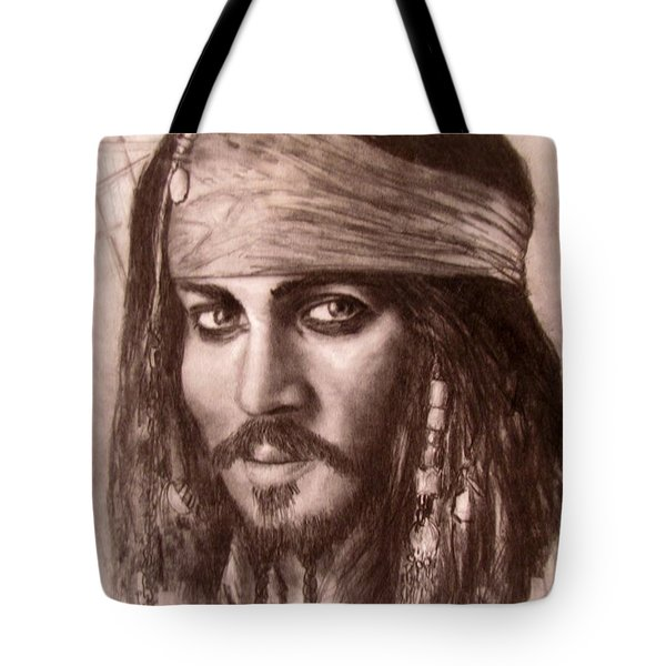 Tote Bag featuring the drawing Capt.jack by Jack Skinner