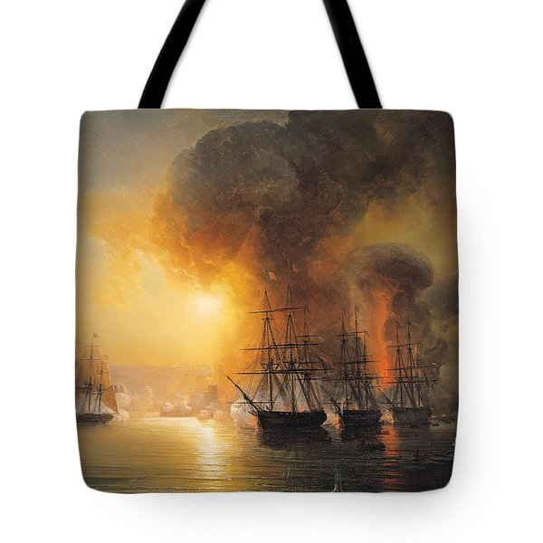 Capture Of The Fort Of Saint Jean Dulloa On 23rd November 1838 Tote Bag by Jean Antoine Theodore Gudin
