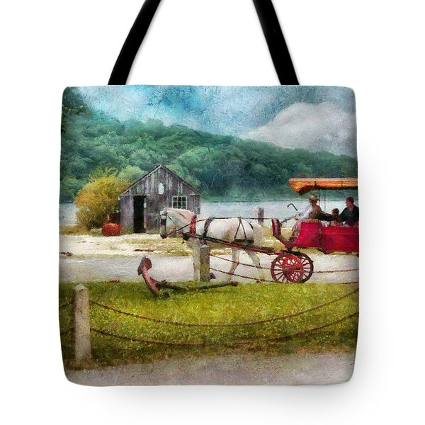 Car - Wagon - Traveling In Style Tote Bag by Mike Savad