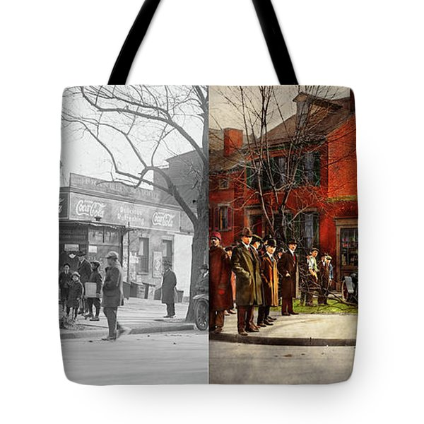 Tote Bag featuring the photograph Car - Accident - Looking Out For Number One 1921 - Side By Side by Mike Savad