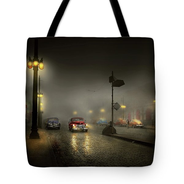 Tote Bag featuring the photograph Car - Down A Lonely Road 1940 by Mike Savad