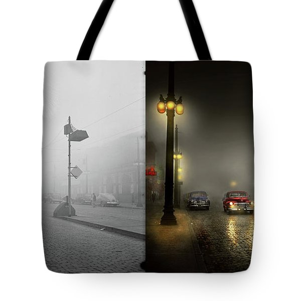 Tote Bag featuring the photograph Car - Down A Lonely Road 1940 - Side By Side by Mike Savad