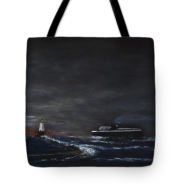 Car Ferry Badger November Crossing Tote Bag