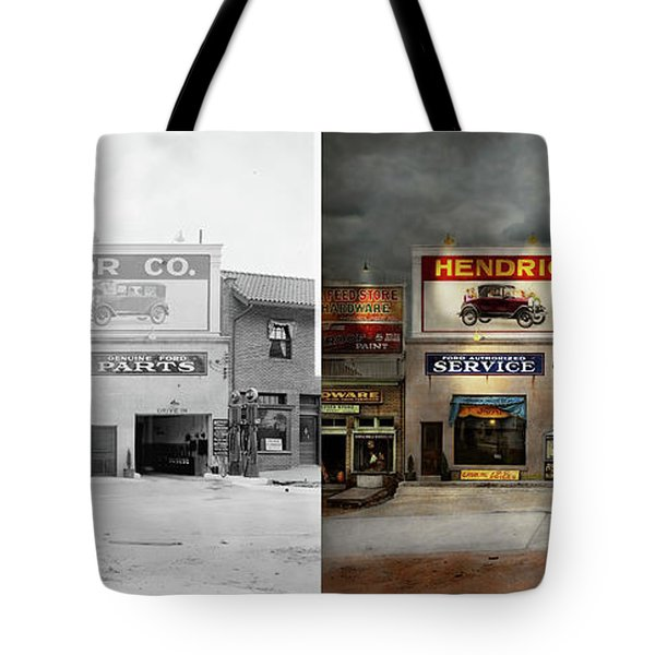 Car - Garage - Hendricks Motor Co 1928 - Side By Side Tote Bag by Mike Savad