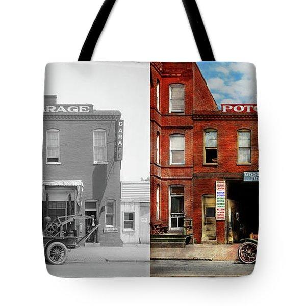 Car - Garage - Misfit Garage 1922 - Side By Side Tote Bag by Mike Savad