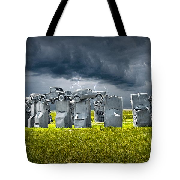 Car Henge In Alliance Nebraska After England's Stonehenge Tote Bag by Randall Nyhof