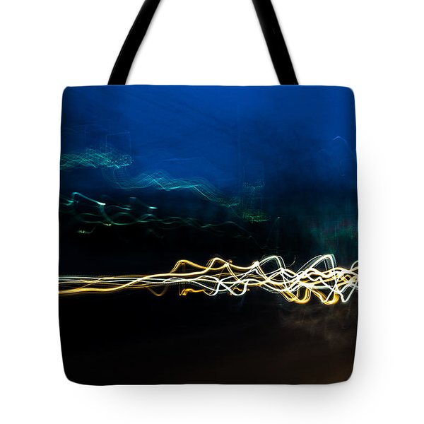 Car Light Trails At Dusk In City Tote Bag