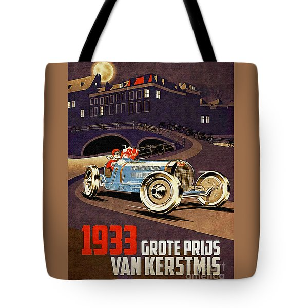 Car Racing Christmas Poster Of The 30s Tote Bag