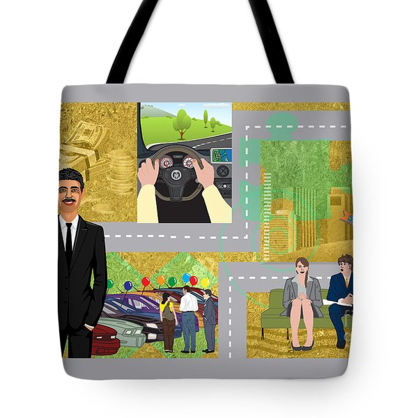 Tote Bag featuring the digital art Car Sales Pro  by Megan Dirsa-DuBois