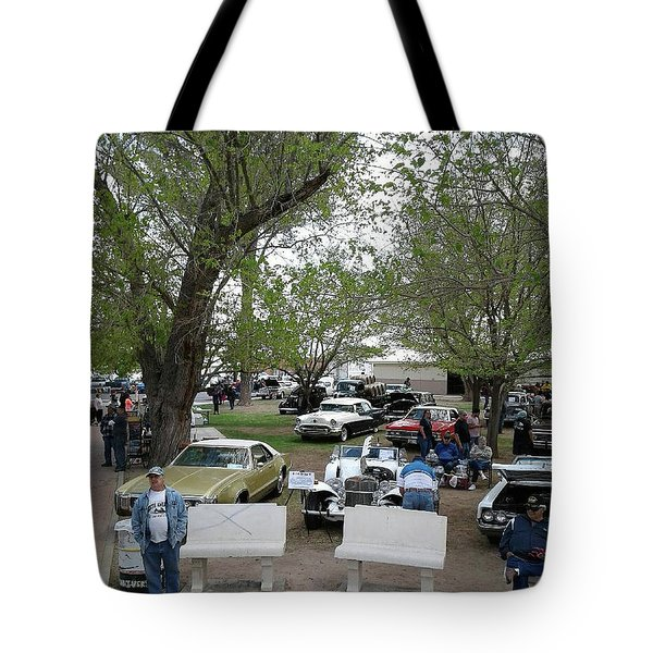 Tote Bag featuring the photograph Car Show In Deming N M by Jack Pumphrey