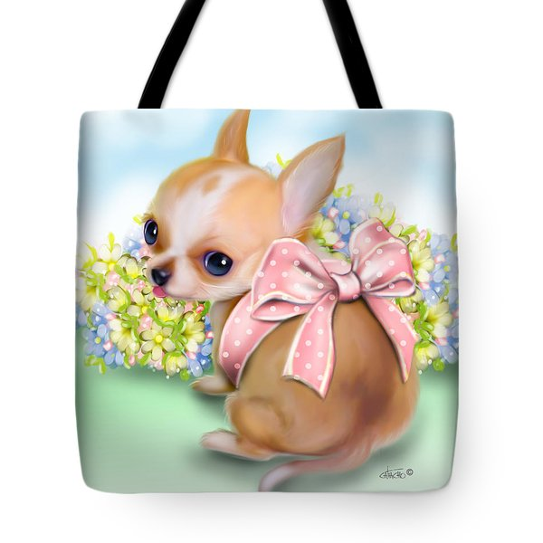 Tote Bag featuring the painting Caramel Chihuahua Baby by Catia Lee
