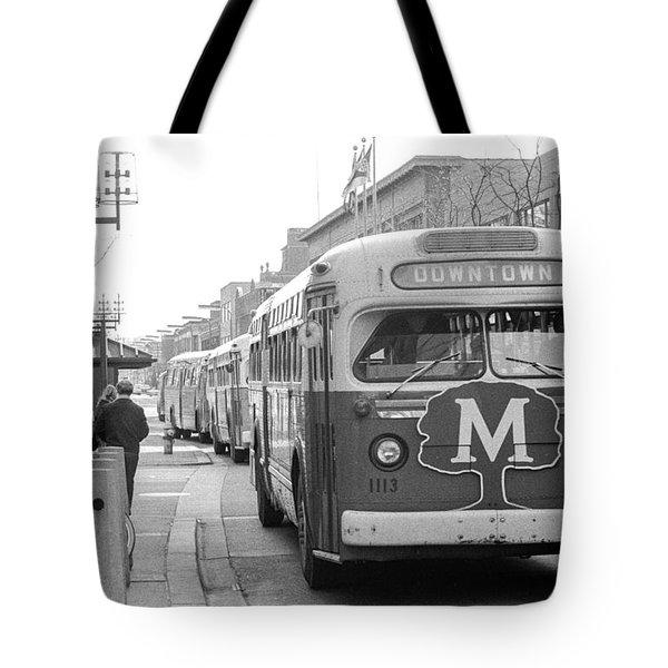 Caravan Of Buses On Nicollet Mall Tote Bag