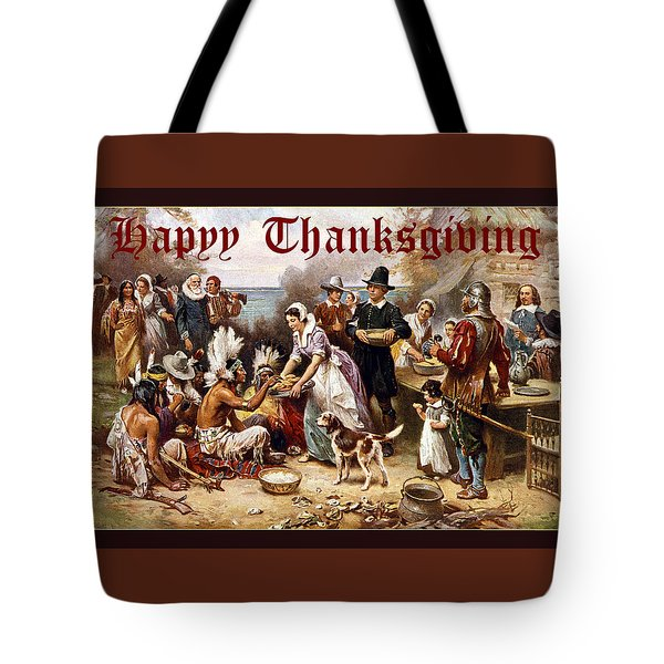 Card First Thanksgiving Tote Bag by Robert G Kernodle