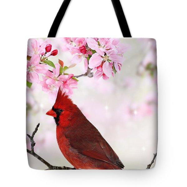 Cardinal Amid Spring Tree Blossoms Tote Bag