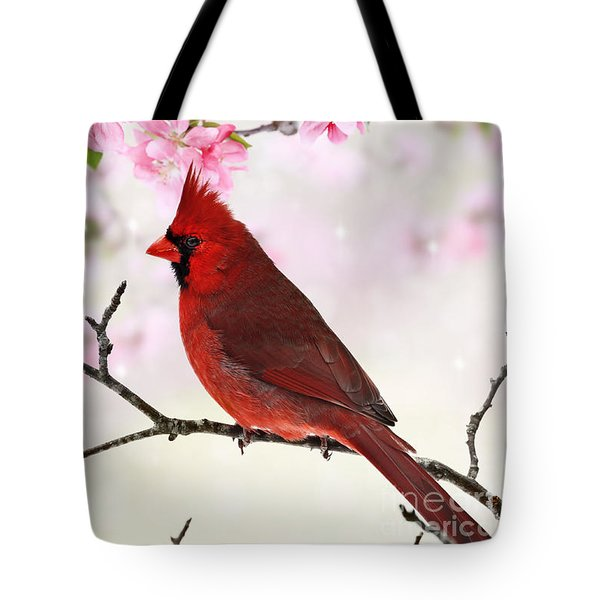 Cardinal Amid Spring Tree Blossoms Tote Bag
