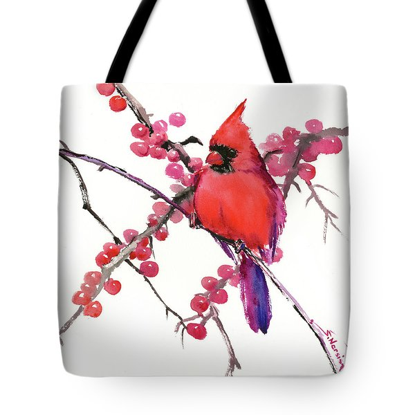 Cardinal And Berries Tote Bag
