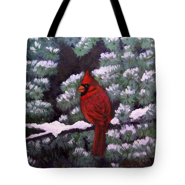 Cardinal And Blue Spruce Tote Bag