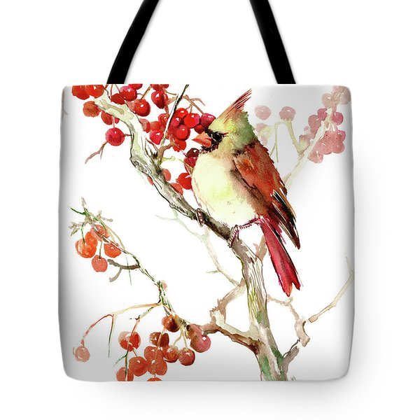 Cardinal Bird And Berries Tote Bag