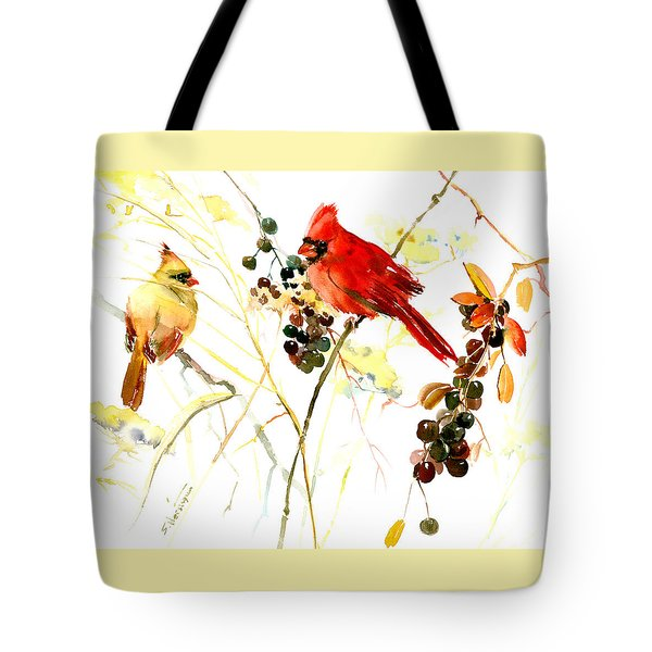 Cardinal Birds And Berries Tote Bag