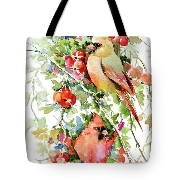 Cardinal Birds And Hawthorn Tote Bag