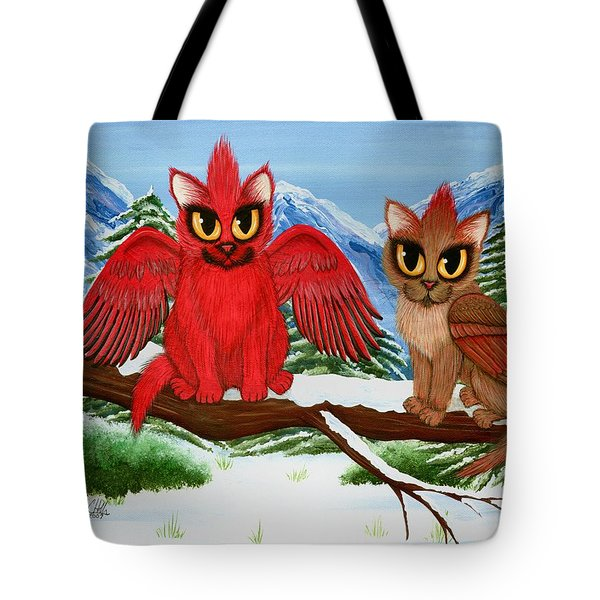 Tote Bag featuring the painting Cardinal Cats by Carrie Hawks