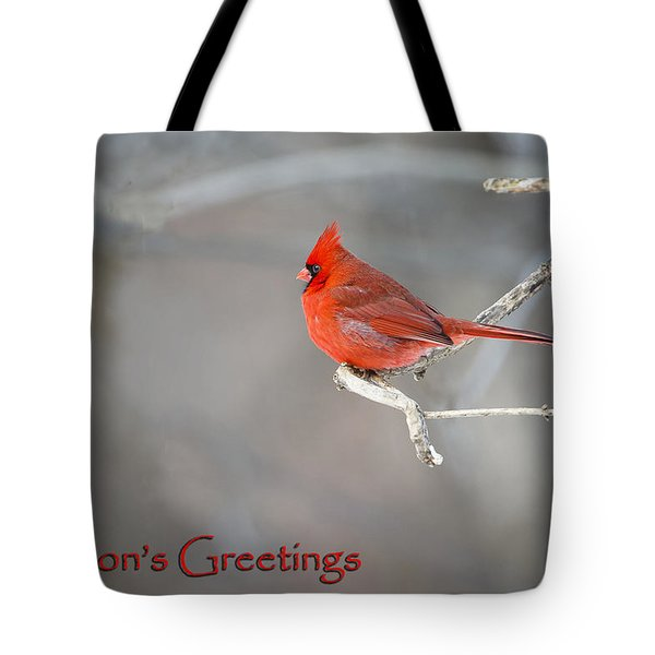 Tote Bag featuring the photograph Cardinal Christmas Card by Gary Hall