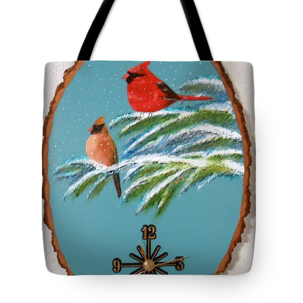 Cardinal Clock Tote Bag