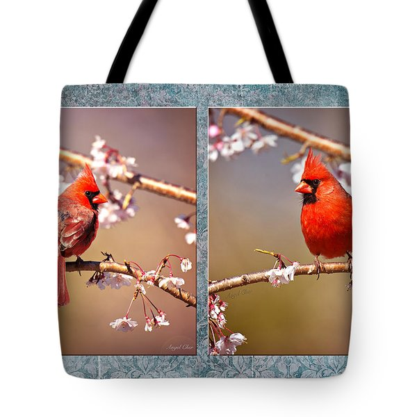 Cardinal Collage Tote Bag by Angel Cher