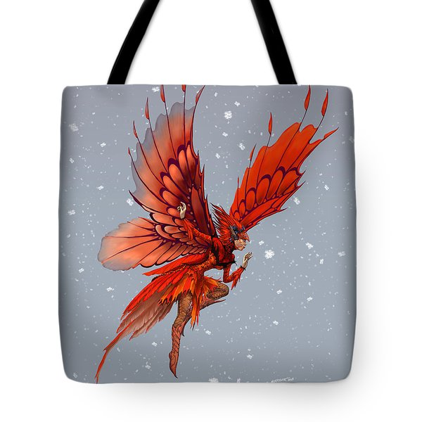 Tote Bag featuring the digital art Cardinal Fairy by Stanley Morrison