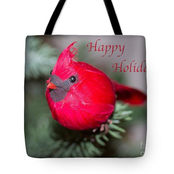 Cardinal Happy Holidays Tote Bag