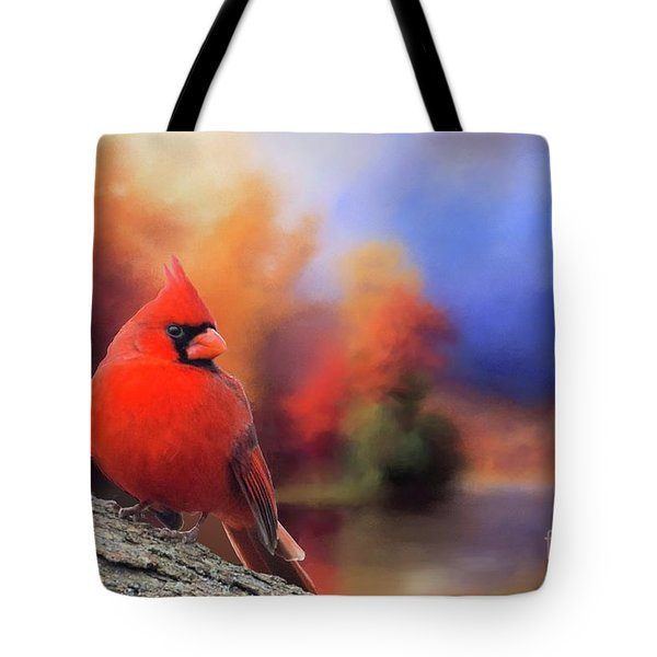 Cardinal In Autumn Tote Bag