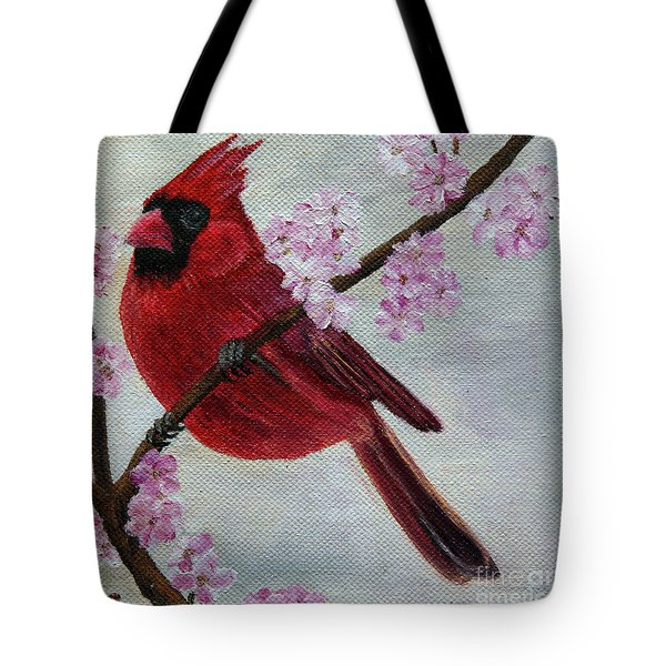 Cardinal In Cherry Blossoms Tote Bag by Jane Axman