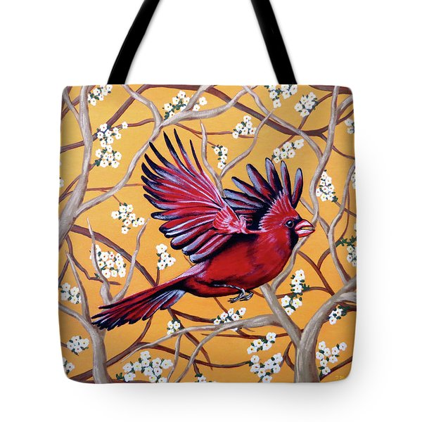Tote Bag featuring the painting Cardinal In Flight by Teresa Wing