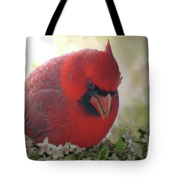 Tote Bag featuring the photograph Cardinal In Flowers by Debbie Portwood