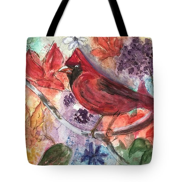 Cardinal In Flowers Tote Bag