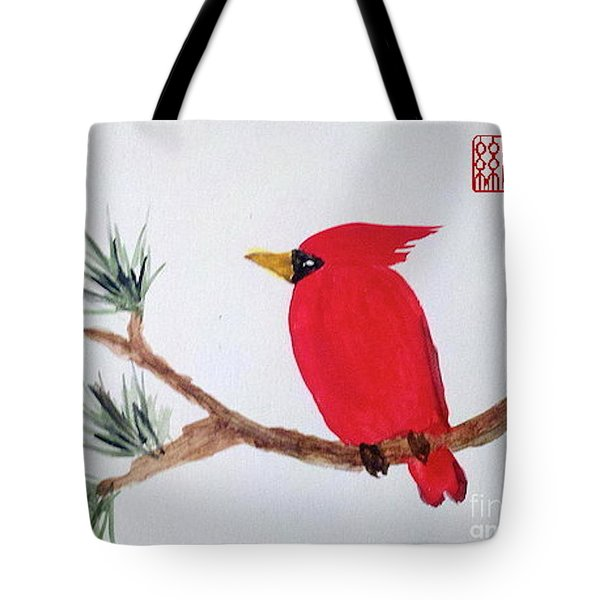 Cardinal In My Backyard Tote Bag
