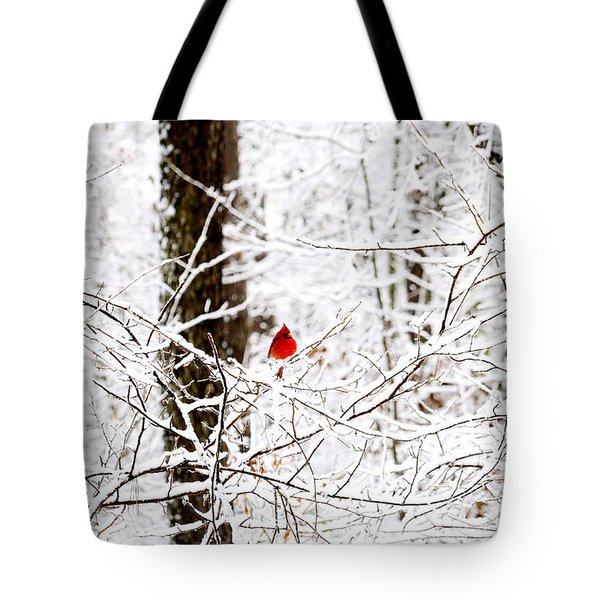 Cardinal In The Snow Tote Bag