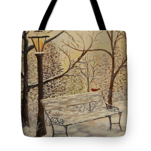 Cardinal In The Snow Tote Bag by Douglas Ann Slusher