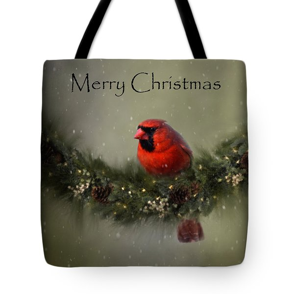 Cardinal Merry Christmas Tote Bag by Ann Bridges