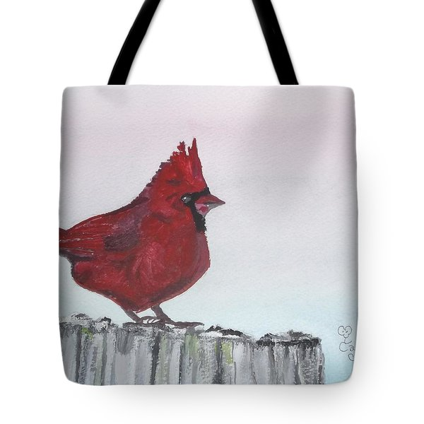 Cardinal On A Fence Post Tote Bag